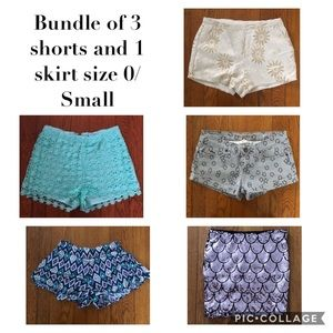 Bundle of 4 Shorts and 1 Skirt Size 0/Small